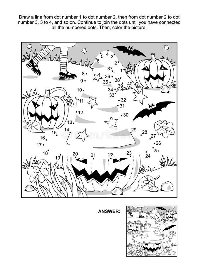 Точка-к-точка и страница расцветки - шляпа ведьмы хеллоуина иллюстрация штока