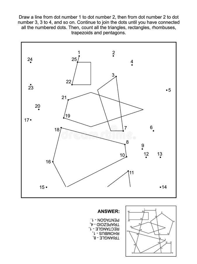 Точка-к-точка и игра подсчитывать с основными геометрическими формами иллюстрация вектора