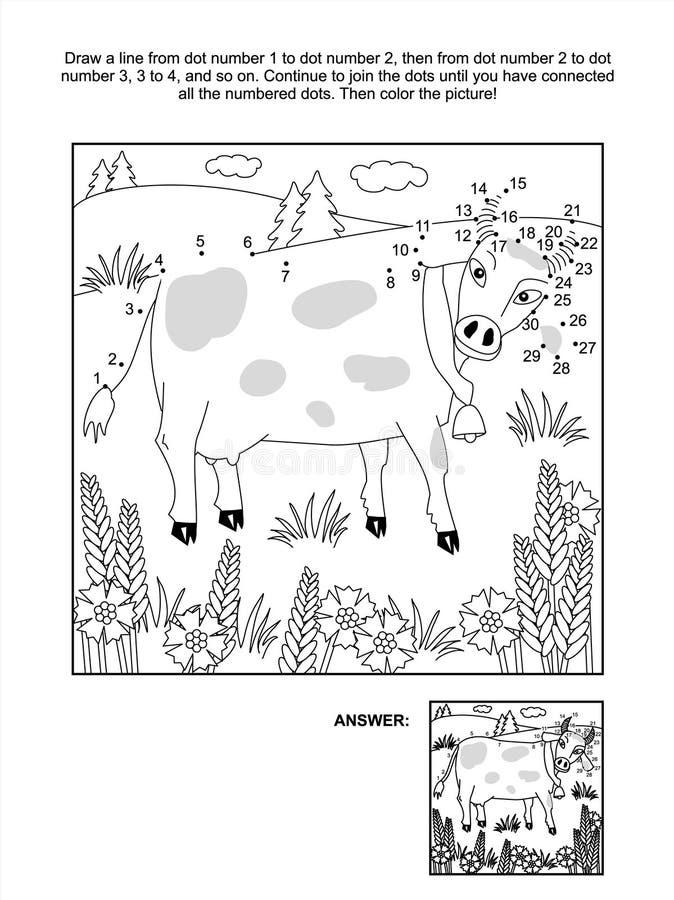 Точка-к-точка и страница расцветки - корова и cornflowers иллюстрация штока