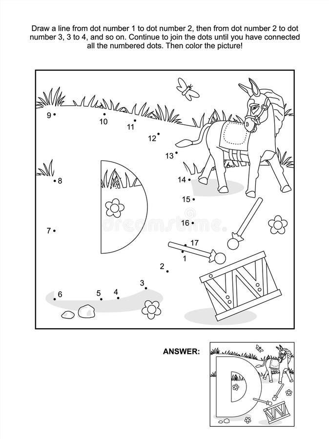 Точка-к-точка и страница расцветки - пометьте буквами d, осла и барабанчик иллюстрация вектора