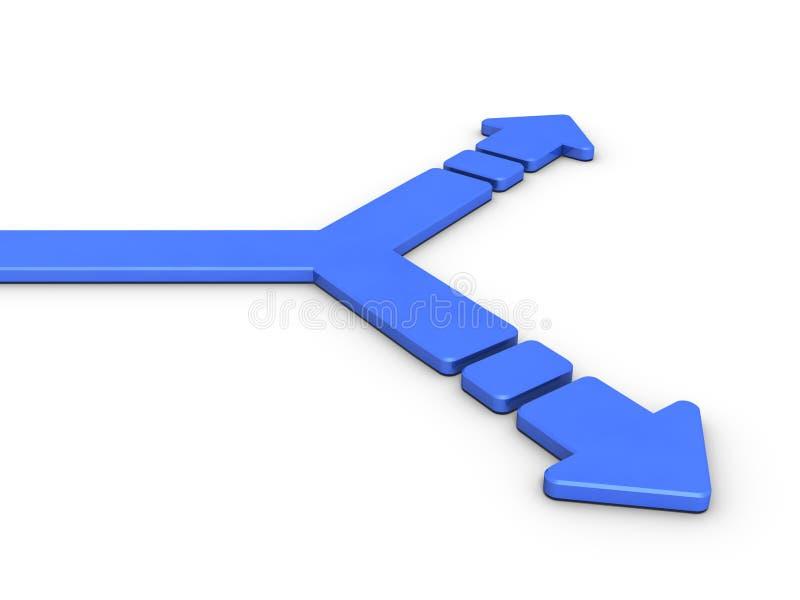 Точка разветвления разделила в 2 Что стрелка конспект представляет выборы иллюстрация вектора