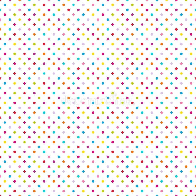 Точки безшовной картины маленькие красочные на белизне иллюстрация вектора