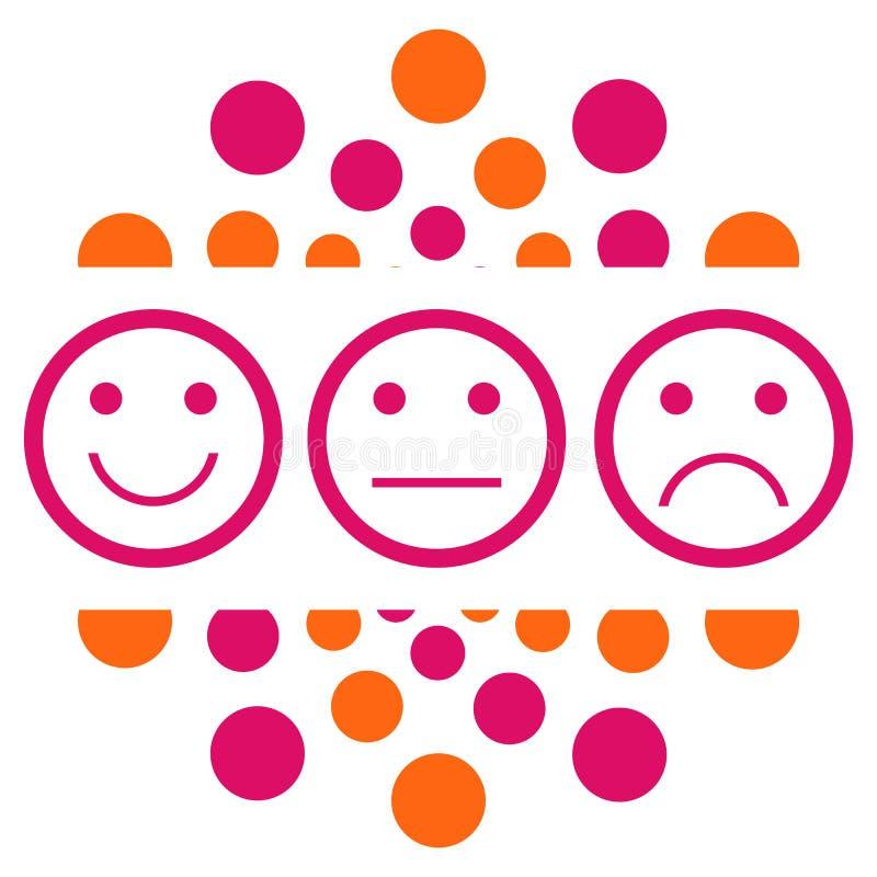 Точки улыбки нейтральные унылые розовые оранжевые круговые иллюстрация вектора