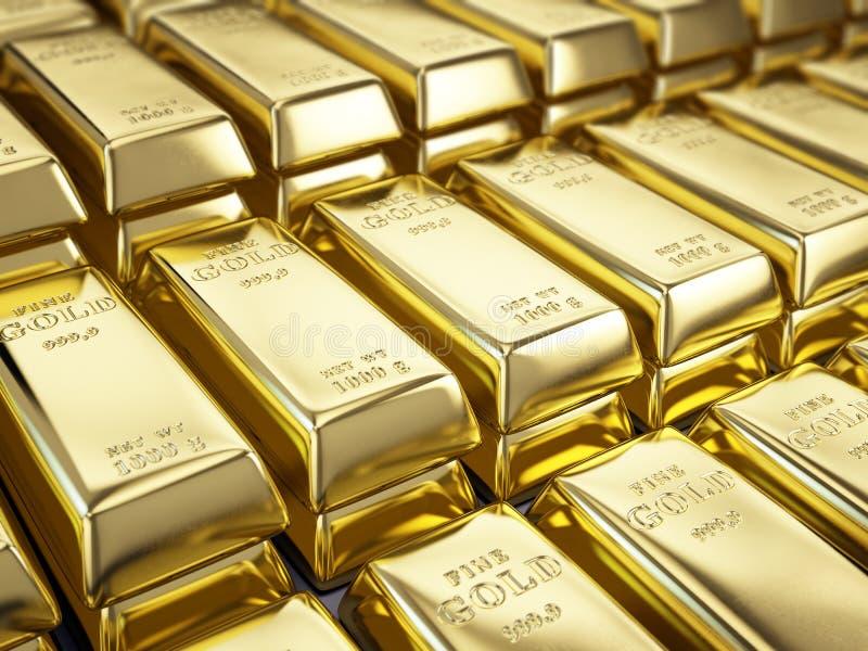 Точное золото в слитках иллюстрация вектора