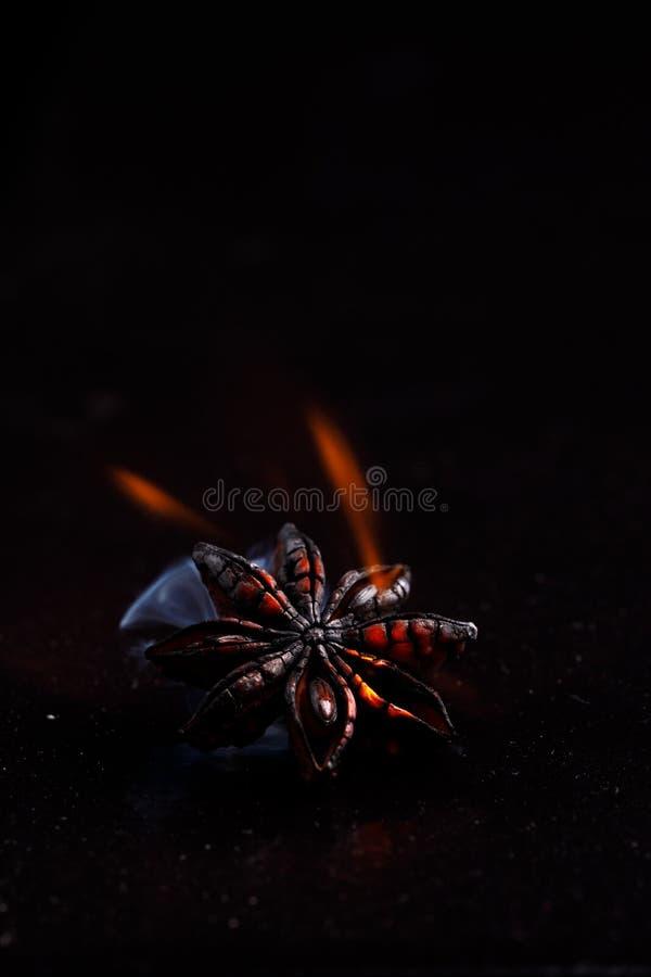 Точное Badian на черной предпосылке в пламенах стоковое фото rf