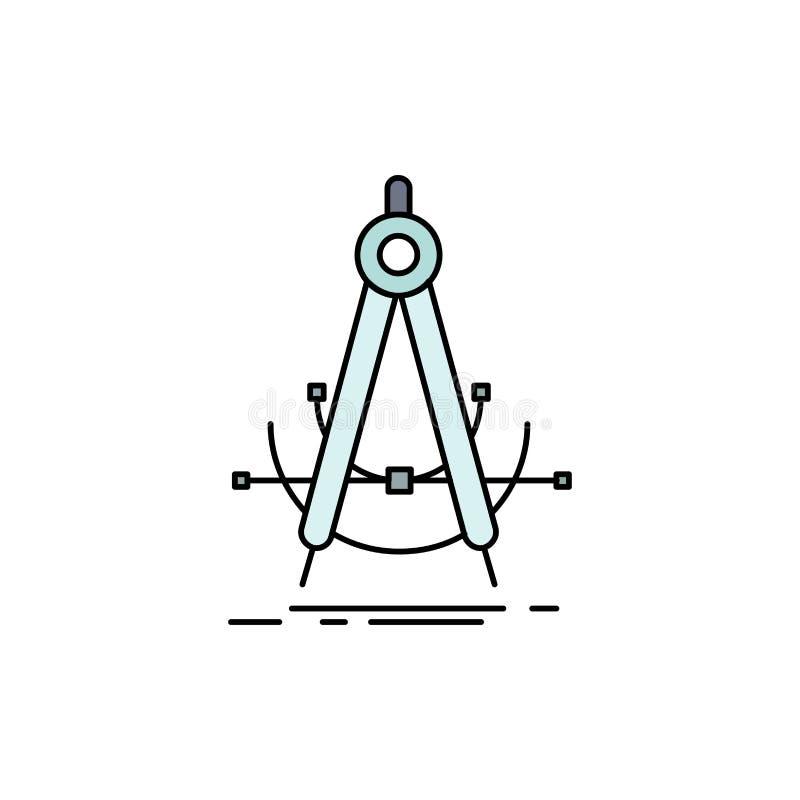 Точность, accure, геометрия, компас, вектор значка цвета измерения плоский бесплатная иллюстрация