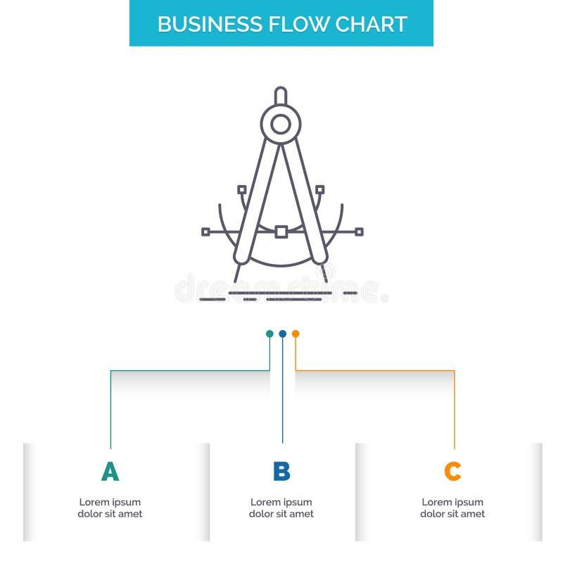 Точность, accure, геометрия, компас, дизайн графика течения дела измерения с 3 шагами r бесплатная иллюстрация