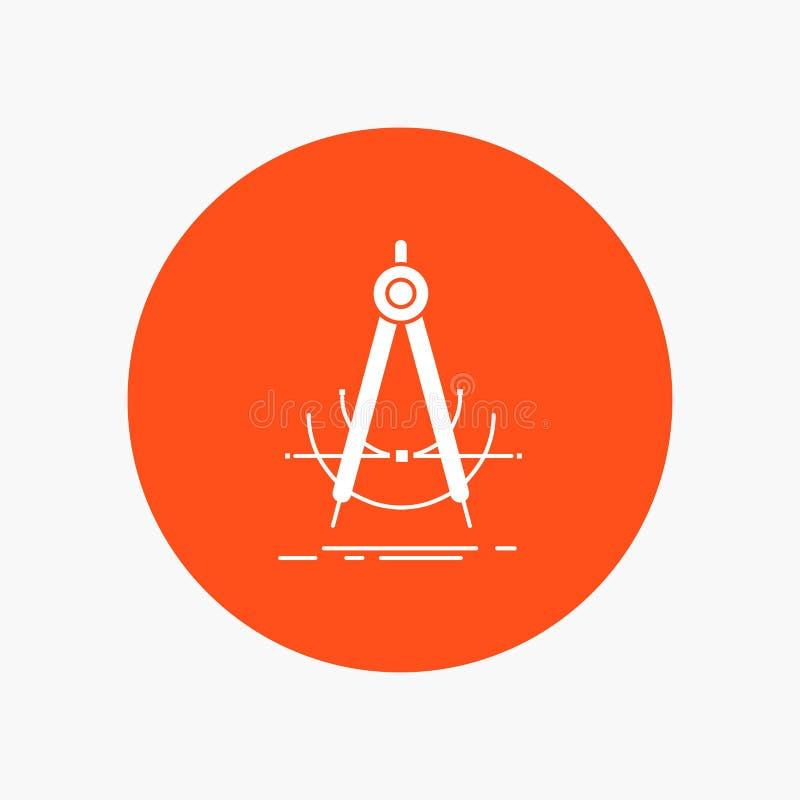 Точность, accure, геометрия, компас, значок глифа измерения белый в круге r иллюстрация штока