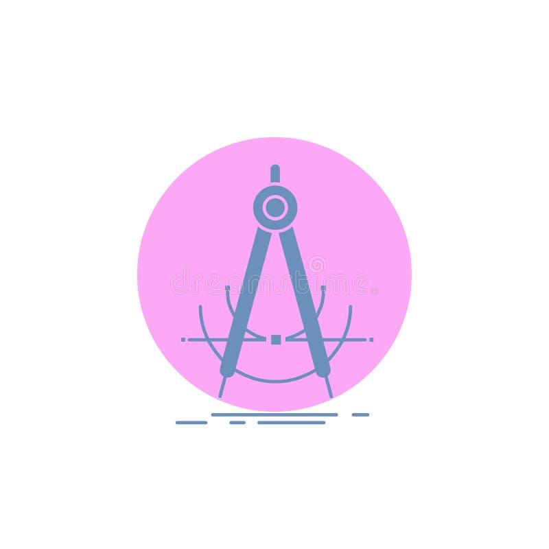 Точность, accure, геометрия, компас, значок глифа измерения иллюстрация штока