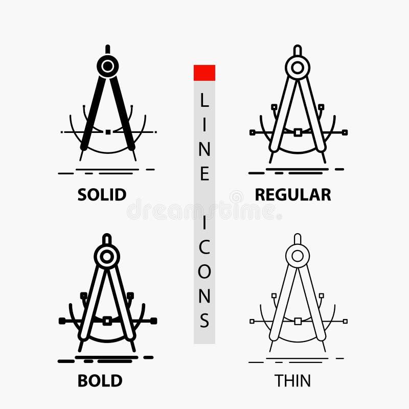 Точность, accure, геометрия, компас, значок измерения в тонких, регулярных, смелых линии и стиле глифа r иллюстрация штока