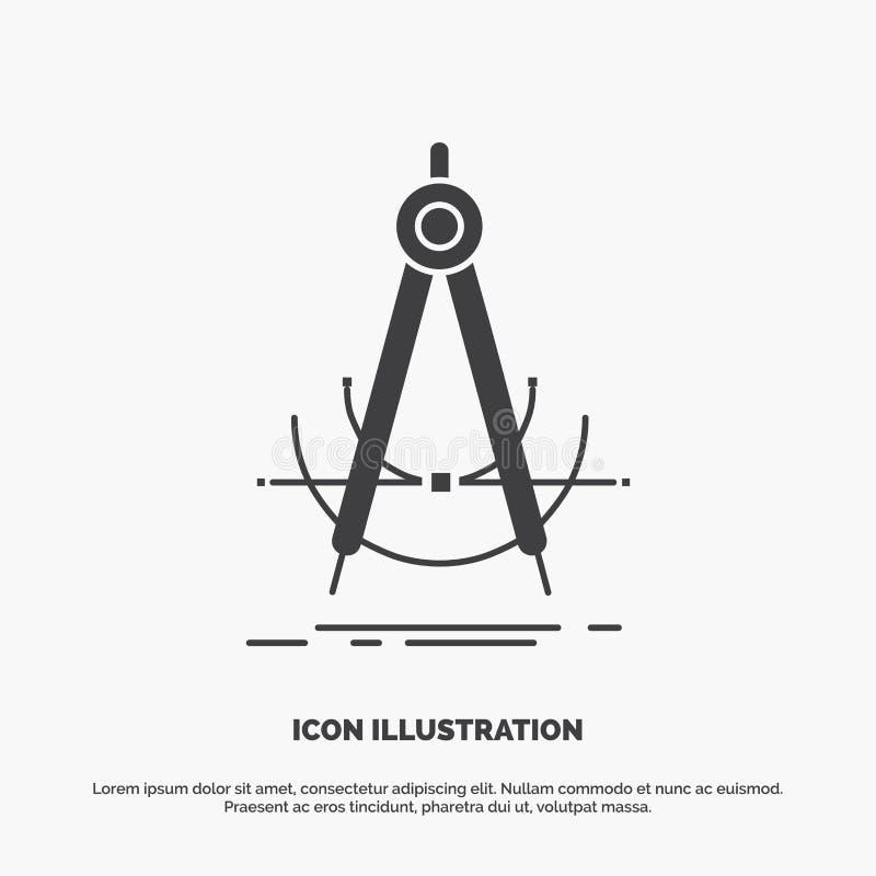 Точность, accure, геометрия, компас, значок измерения r иллюстрация штока