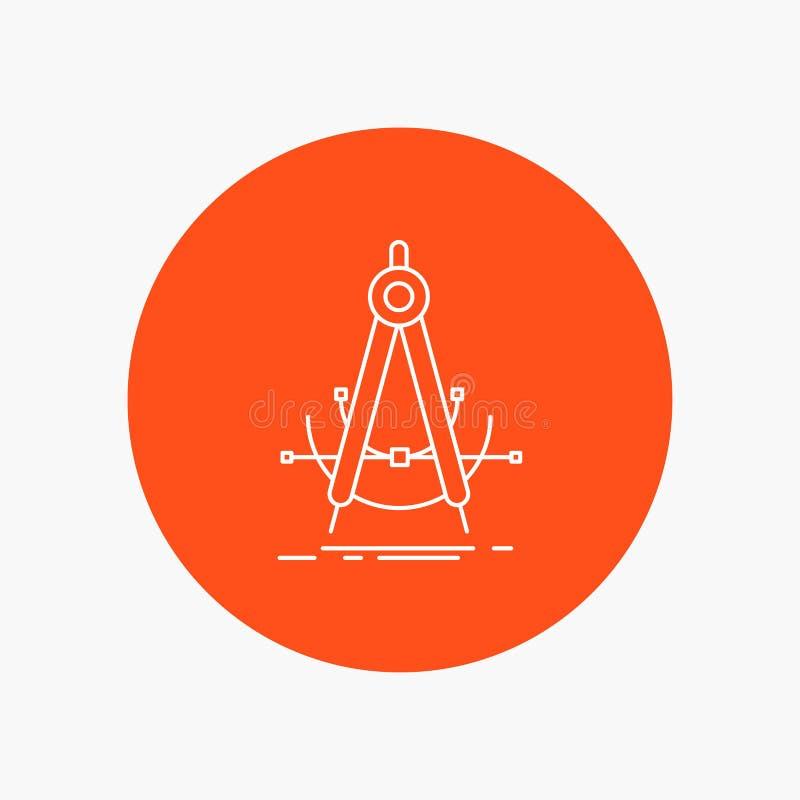 Точность, accure, геометрия, компас, линия значок измерения белая в предпосылке круга r иллюстрация вектора