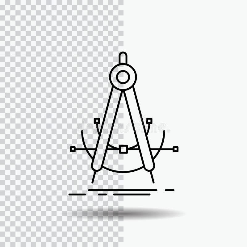 Точность, accure, геометрия, компас, линия значок измерения на прозрачной предпосылке r иллюстрация штока