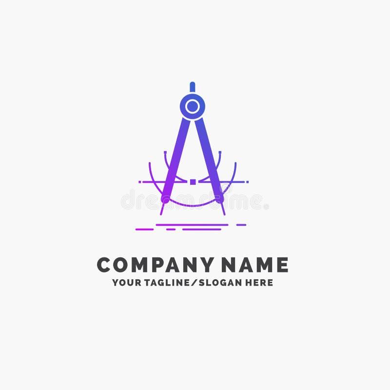 Точность, accure, геометрия, компас, шаблон логотипа дела измерения пурпурный r бесплатная иллюстрация