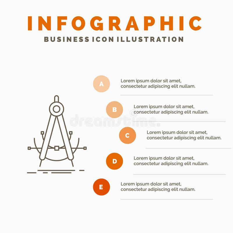 Точность, accure, геометрия, компас, шаблон Infographics измерения для вебсайта и представление Линия серый значок с апельсином иллюстрация вектора