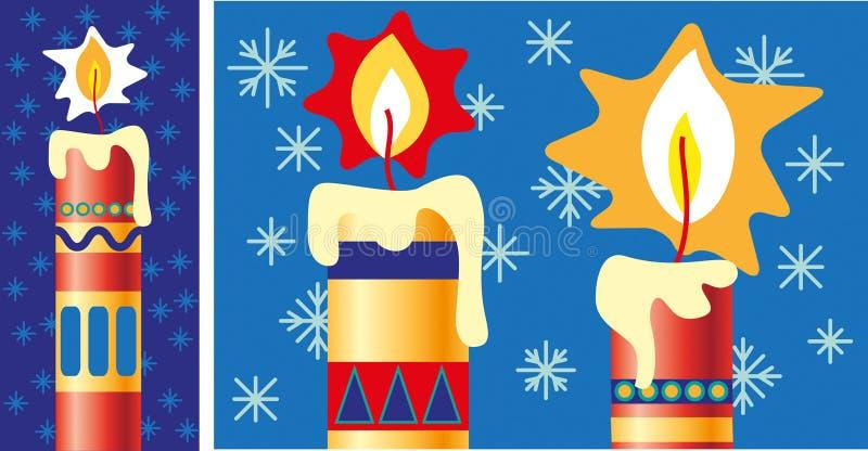 Точно украшенные свечи освещенные рождеством иллюстрация вектора