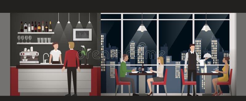 Точный обедать на ресторане иллюстрация вектора
