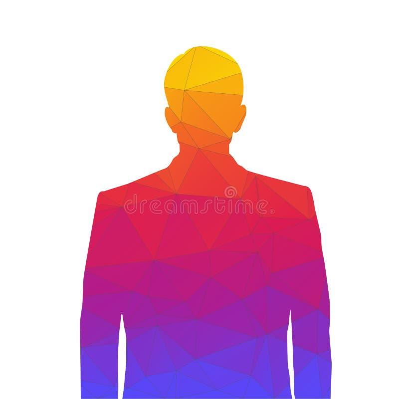 Точный силуэт человека от покрашенных треугольников для изображения профиля Силуэт человека тали-глубокого с аккуратным иллюстрация вектора