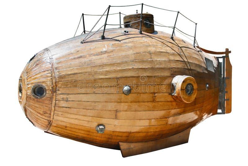 Точный экземпляр старой подводной лодки Monturiol Ictineu i 1864 изолированной на белизне стоковые фотографии rf