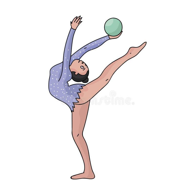 Тощая девушка с шариком в спорт танцев руки танцует Девушка приниманнсяая за гимнастика Олимпийские спорт определяют значок иллюстрация вектора