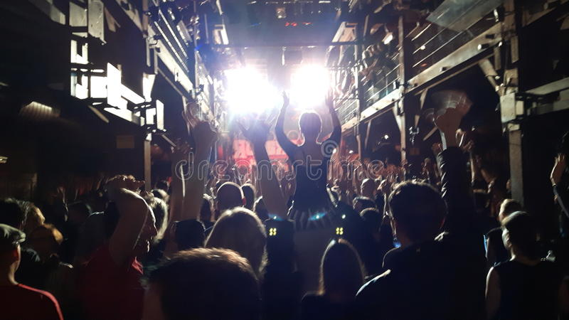 Толпа веселя на выставке концерта стоковое изображение rf