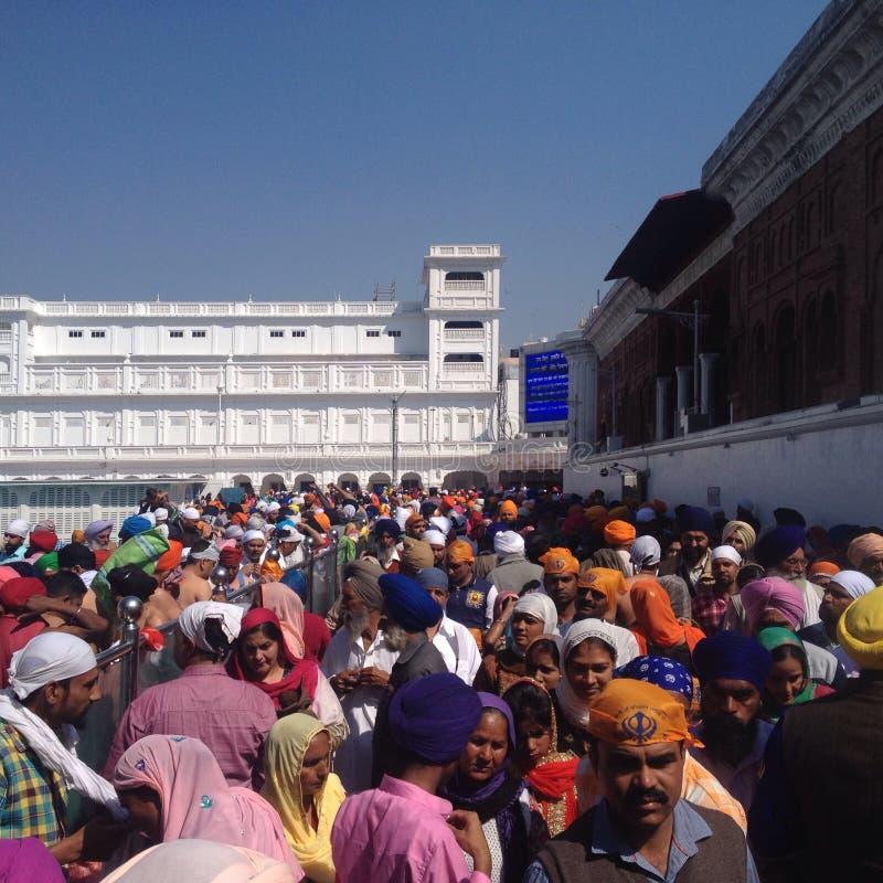 Толпа индийских сикхских людей в золотом виске, Амритсара, Индии стоковая фотография