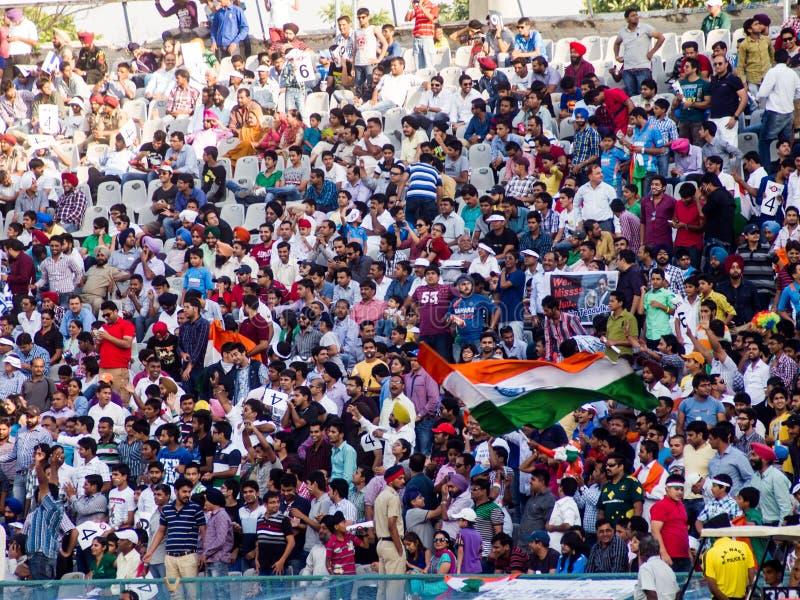 Толпа Индия сверчка празднует стоковое изображение