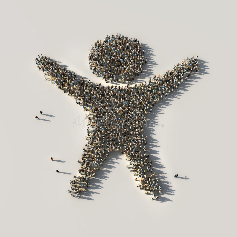 Толпа как победитель иллюстрация вектора