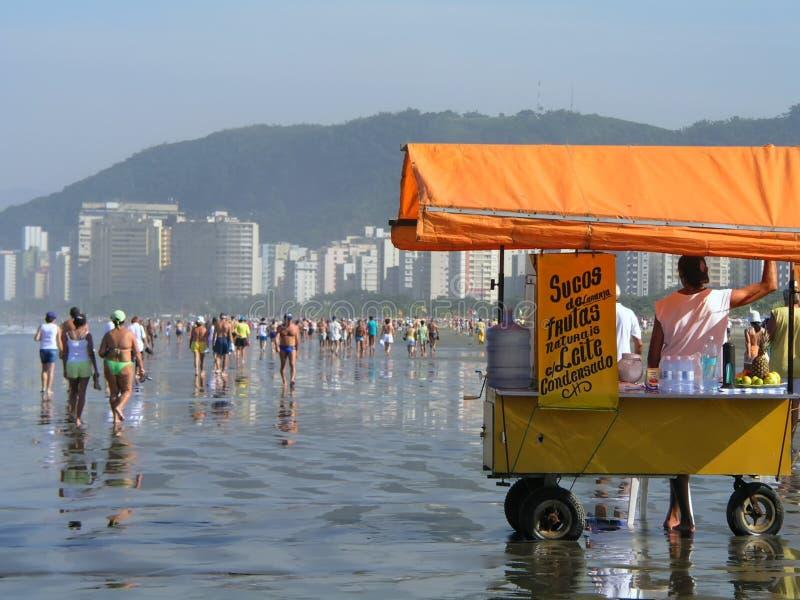 Толпа на пляже стоковое изображение rf