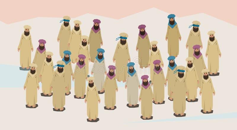 Толпа пустыни одежд арабской группы людей традиционная иллюстрация штока
