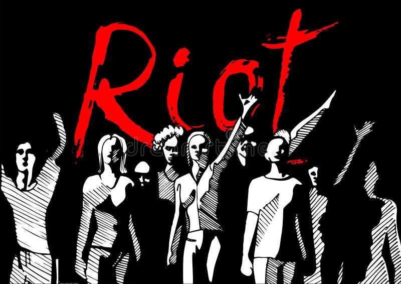 толпа Революция-бунта иллюстрация вектора