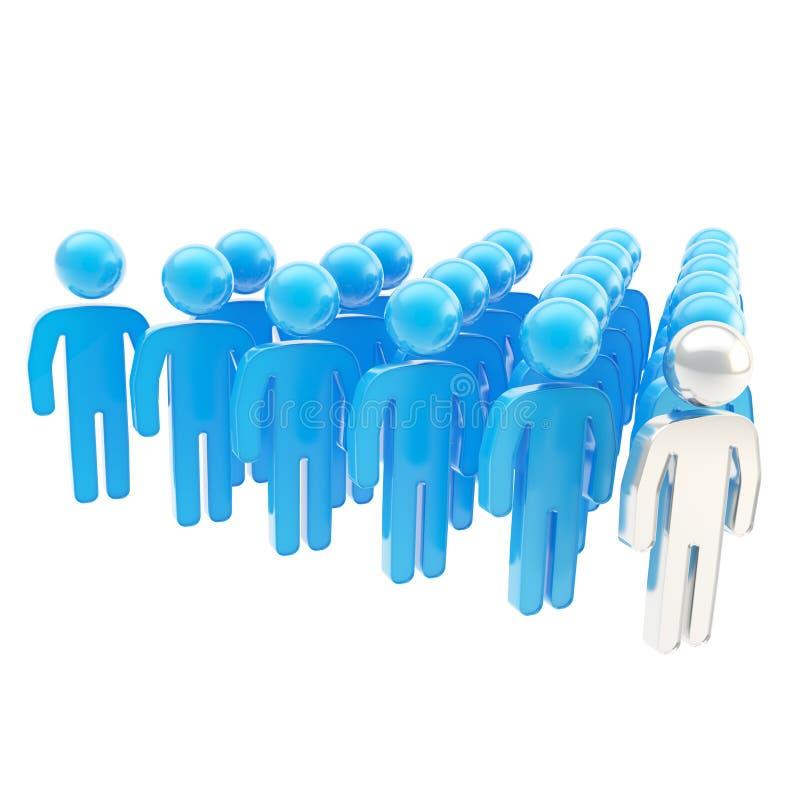 Толпа символических человеческих диаграмм с руководителем вперед иллюстрация штока