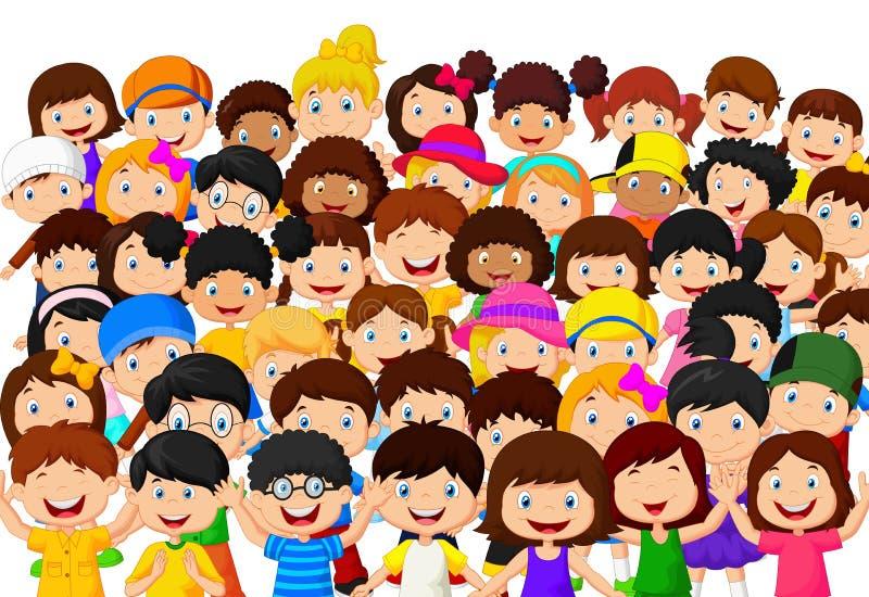 Толпа шаржа детей иллюстрация штока