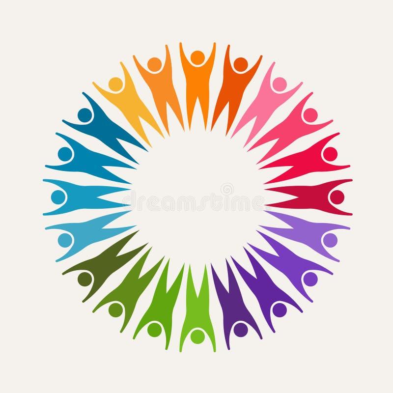 Толпа людей веселя вверх в логотипе круга стоковое изображение rf