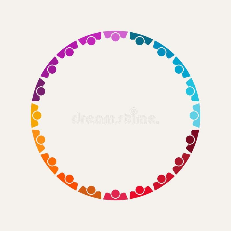 Толпа людей в круглой иллюстрации конвенции стоковое изображение