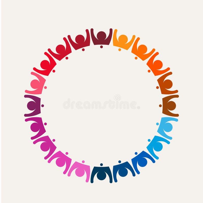 Толпа людей в логотипе воссоединенном кругом стоковые изображения rf