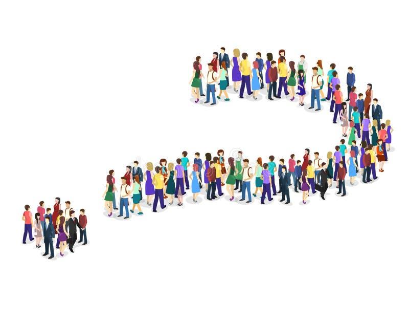 Толпа людей в форме вопросительного знака иллюстрация вектора