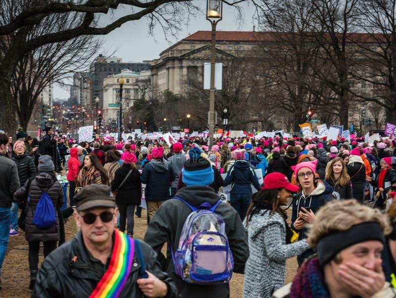 Толпа - DC в марте - Вашингтоне женщин стоковое изображение