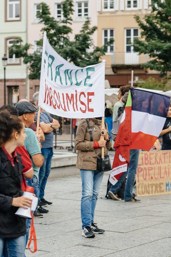 Толпитесь протестовать в Франции на протесте против Macron стоковые фото