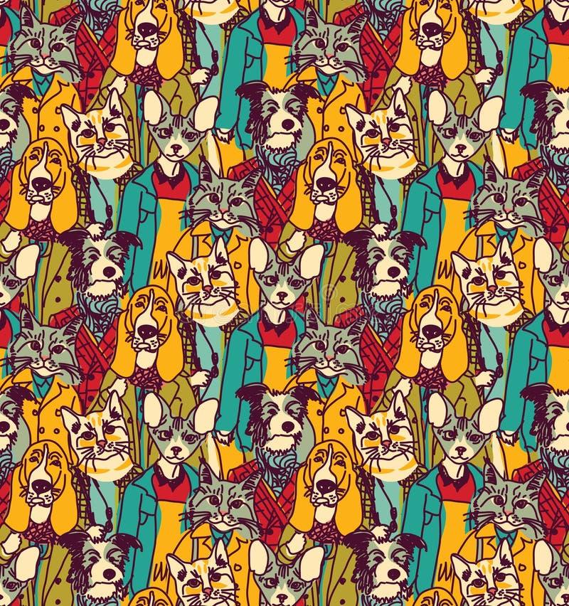 Толпитесь люди как картина котов и собак безшовная иллюстрация вектора
