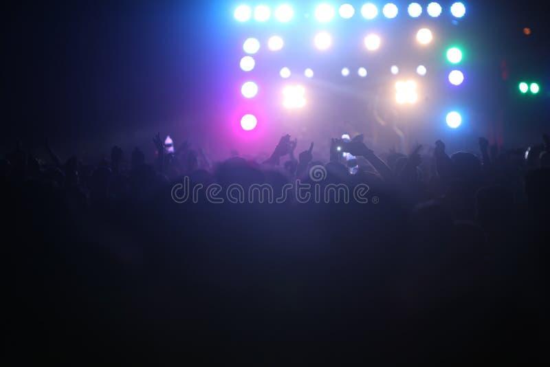 Толпы и света концерта стоковые изображения rf