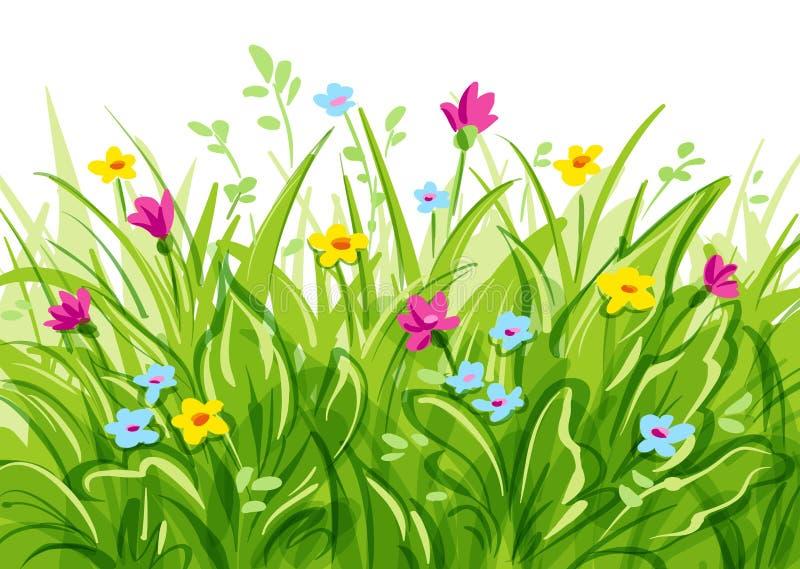 Трава вектора с полевыми цветками иллюстрация штока
