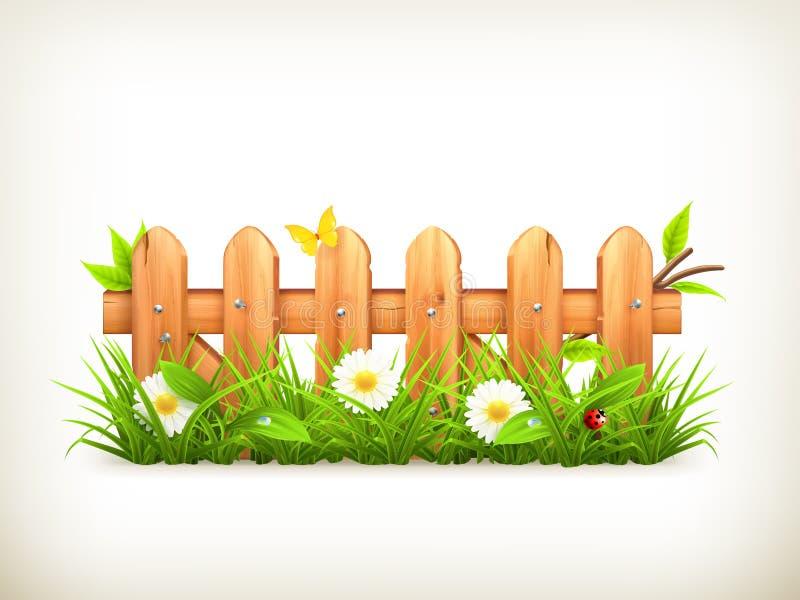 Трава весны и деревянная загородка иллюстрация вектора