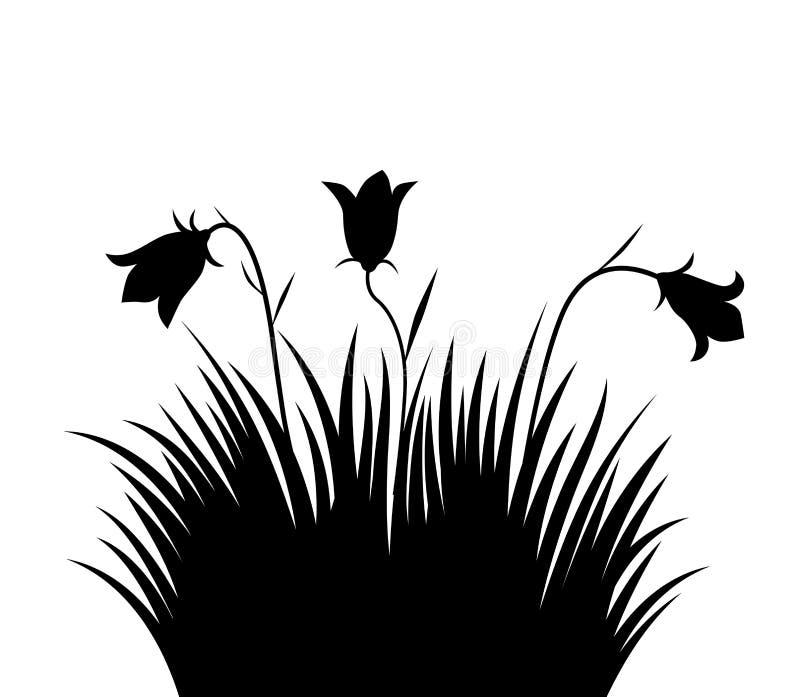Трава иллюстрации вектора и предпосылка цветков стоковое фото rf