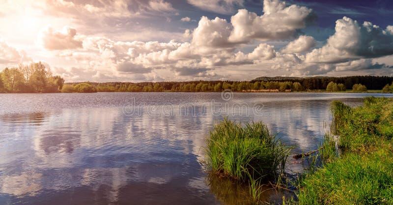 Трава и озеро во время захода солнца красивейший ландшафт естественный драматическое небо Фантастические виды озера в лесе под su стоковое фото rf