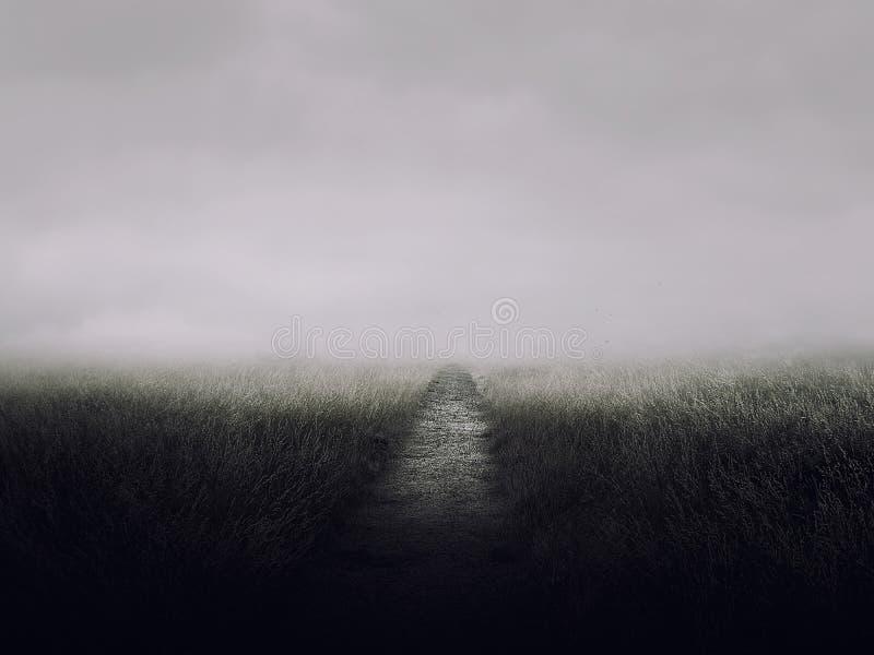 Трава дороги на ужасе хеллоуине ночи стоковое изображение