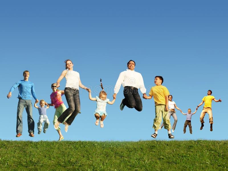 трава семей коллажа скача много стоковое фото