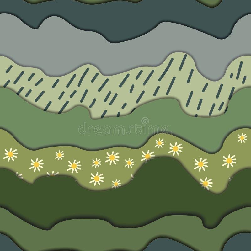 Трава с маргаритками и облаками иллюстрация штока