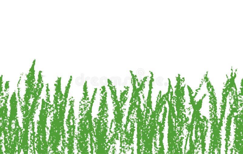 Трава crayon воска нарисованная рукой зеленая на белизне Безшовный как знамя предпосылки ` ребенк нарисованное s с лугом иллюстрация вектора