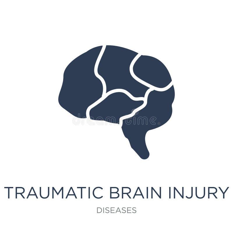 Травматичный значок черепно-мозговой травмы (TBI) Ультрамодный плоский вектор травматичный иллюстрация штока